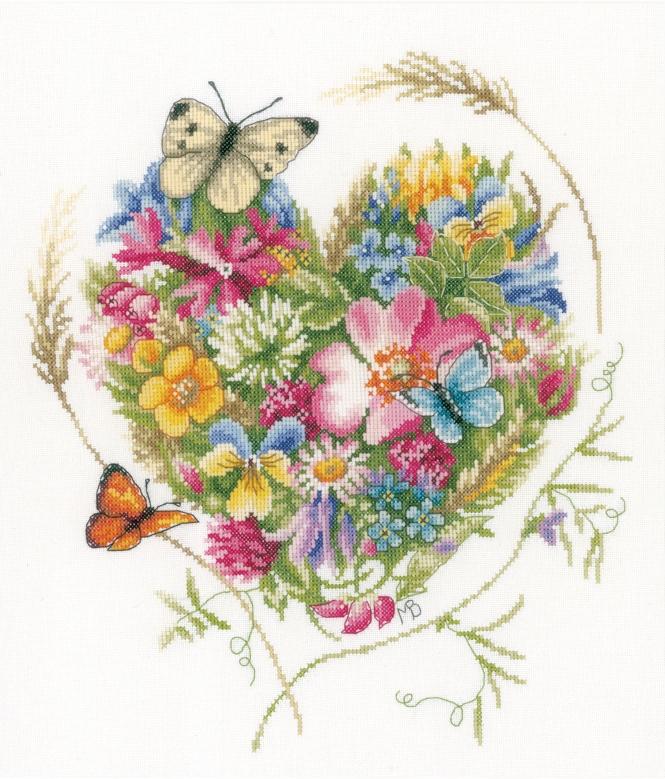 borduurpakket bloemenhartje - marjolein bastin online | handwerk.nl
