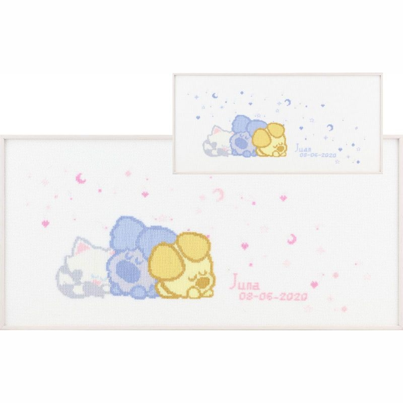 Borduurpakket Woezel Pip Baby Geboortetegel Pako Handwerknl