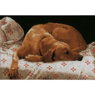 Borduurpakket Slapende hond - Lanarte