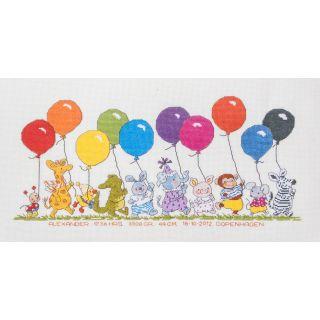 Borduurpakket Optocht van dieren met ballonnen Happy Friends - Permin