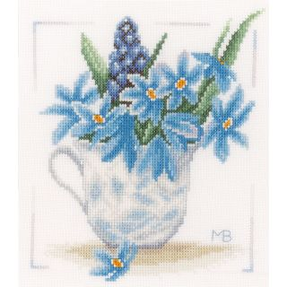 Borduurpakket Blauwe bloemen - Marjolein Bastin