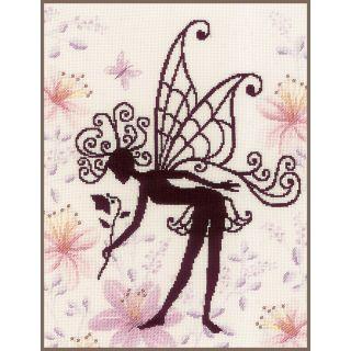 Romantisch borduurpakket - Bloemenfee silhouette II van Lanarte
