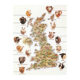 Borduurpakket Kaart van Engeland - Schapen - Thea Gouverneur