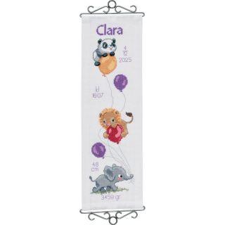 Borduurpakket Geboorte Beestjes en Ballonnen paars - Permin