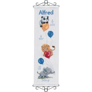 Borduurpakket Geboorte Beestjes en Ballonnen blauw - Permin