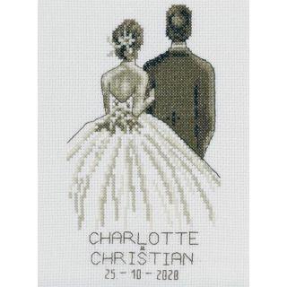Borduurpakket in sepia kleuren, speciaal voor een huwelijk - van Permin