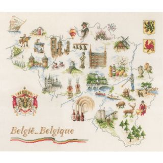 Borduurpakket Kaart van België  - Lanarte
