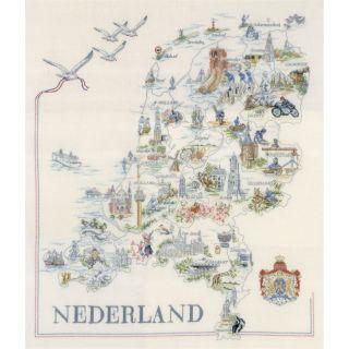 Borduurpakket Kaart van Nederland  - Lanarte