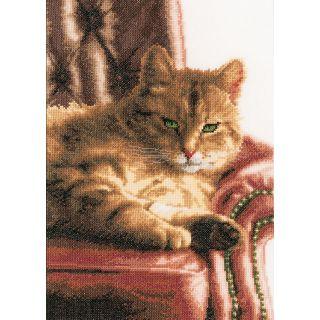 Borduurpakket Luierende kat Aida - Lanarte