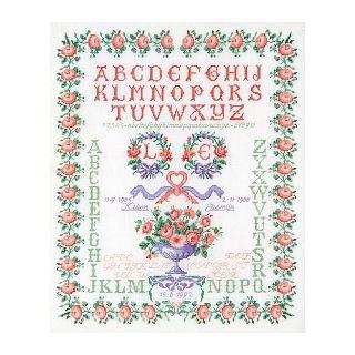 Merklap Huwelijk Rozen borduurpakket Linnen - Thea Gouverneur