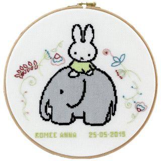Geboortetegel Nijntje op olifant borduurpakket - Pako