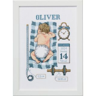 Borduurpakket Oliver geboortetegel - Permin