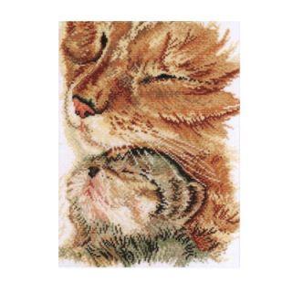 Borduurpakket Poes met kitten - Pako