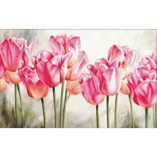 Borduurpakket Pink Tulips voorbedrukt - Needleart World