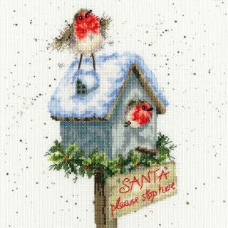 Borduurpakket Santa Please Stop Here - Bothy Threads