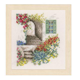 Borduurpakket Steegje met bloemen - Lanarte