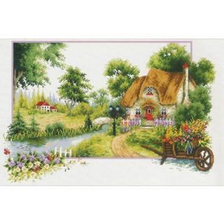 Borduurpakket Summer Cottage voorbedrukt - Needleart World
