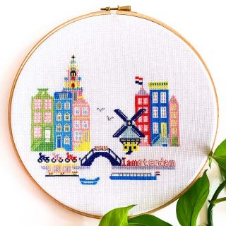 Borduurpakket Sunny Modern Amsterdam - Studio Koekoek