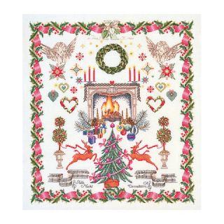 Borduurpakket Kerst merklap Aida - Thea Gouverneur