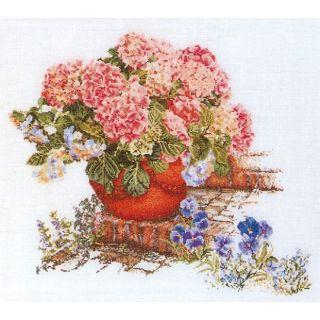 Borduurpakket Hortensia en Viooltjes Aida - Thea Gouverneur