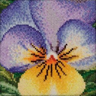 Borduurpakket Viooltje lila-geel - Thea Gouverneur