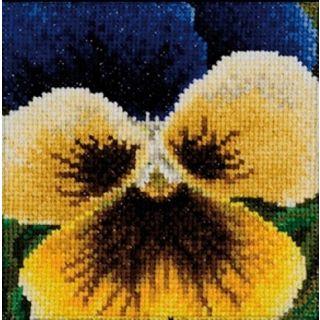 Borduurpakket Viooltje geel-donkerblauw - Thea Gouverneur