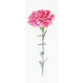 Borduurpakket Roze Anjer (Carnation Pink) Linnen - Thea Gouverneur