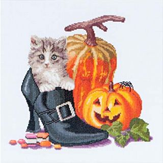 Borduurpakket Halloween Kitten - Thea Gouverneur