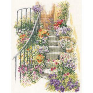 Borduurpakket Trap met bloemen - Lanarte