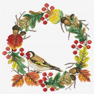 Borduurpakket Autumn Wreath voorbedrukt - Needleart World