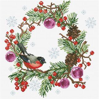 Borduurpakket Winter Wreath voorbedrukt - Needleart World