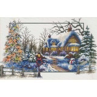 Borduurpakket Winter Cottage voorbedrukt - Needleart World