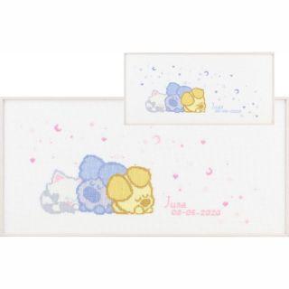 Borduurpakket Woezel & Pip Baby geboortetegel - Pako