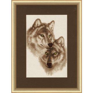 Borduurpakket Wolves in Love - Golden Fleece Ltd