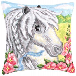 Kussen borduurpakket White Horse - Collection d'Art