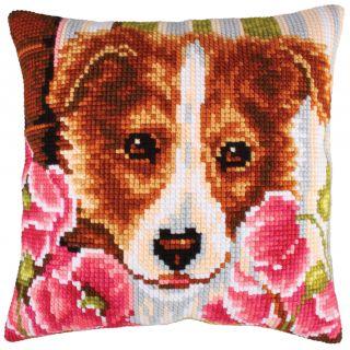 Kussen borduurpakket Dog and Pink Poppies - Collection d'Art