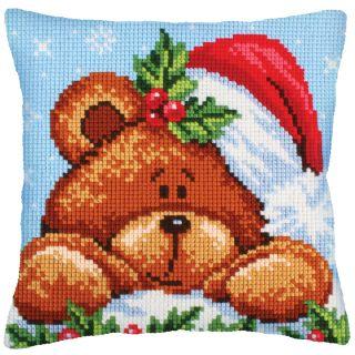 Kussen borduurpakket Christmas with a Teddy Bear - Collection d'Art
