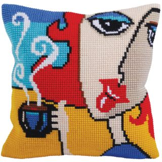 Kussen borduurpakket Fragrant Coffee  - Collection d'Art