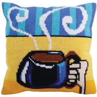 Kussen borduurpakket Cup of Coffee - Collection d'Art