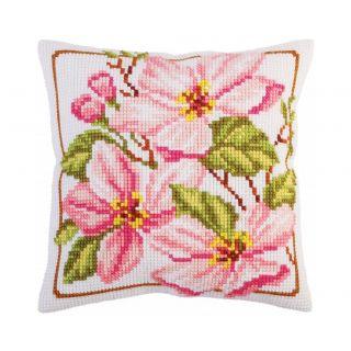 Kussen borduurpakket Pink magnolia - Collection d'Art