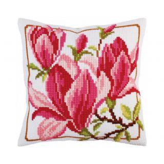 Kussen borduurpakket Magnolia flowers - Collection d'Art