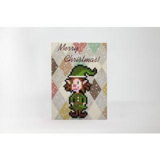 Diamond Painting kerstkaart Merry Christmas Elf - Wizardi