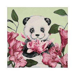 Diamond Painting Panda and Flowers - Wizardi