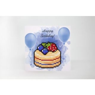 Diamond Painting wenskaart Happy Birthday Cake - Wizardi