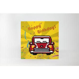 Diamond Painting wenskaart Happy Birthday Car - Wizardi