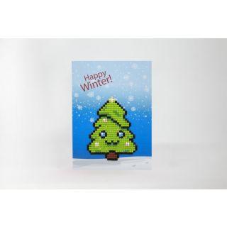Diamond Painting wenskaart Happy Winter- Wizardi