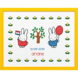 Geboortetegel Nijntje met ballon en vlag borduurpakket - Pako