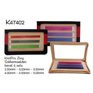Sokkennaalden set Knitpro Zing - 20 cm aluminium