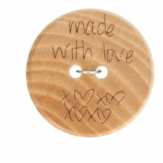 Houten knoop - Made with love 20 mm