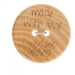 Houten knoop - Made with love 24 mm